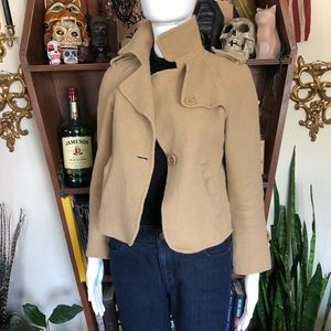 Talbots Cropped Wool Jacket Pea Size 4